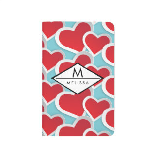 Fat Red Hearts Repeating Pattern Cute Journal