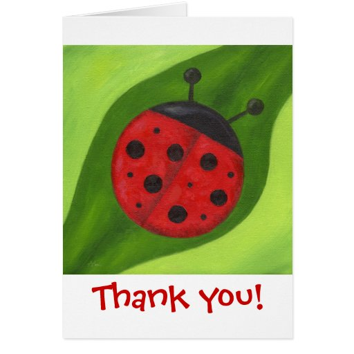 Fat Red Ladybug Thank You Notecard Greeting Cards