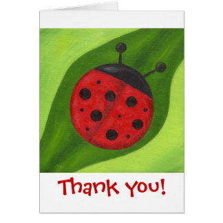 Fat Red Ladybug Thank You Notecard Note Card