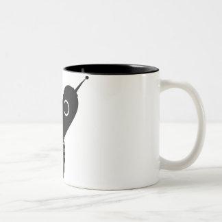 Fat Retro Rocket Ship Black Coffee Mugs