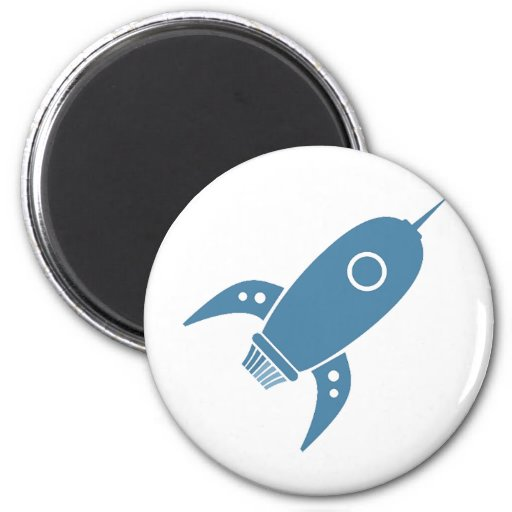 Fat Retro Rocket Ship Blue Refrigerator Magnet