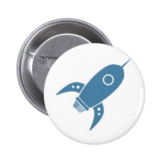 Fat Retro Rocket Ship Blue Pins