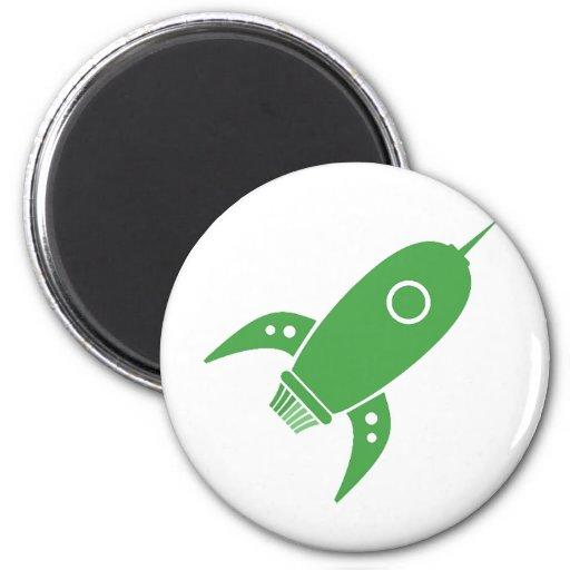 Fat Retro Rocket Ship Green Fridge Magnet