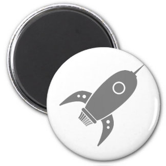 Fat Retro Rocket Ship Grey Gray 6 Cm Round Magnet