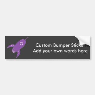 Fat Retro Rocket Ship Purple Bumper Sticker