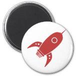 Fat Retro Rocket Ship Red 6 Cm Round Magnet