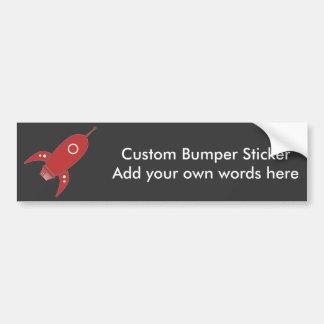 Fat Retro Rocket Ship Red Bumper Sticker