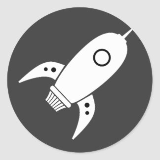 Fat Retro Rocket Ship White Round Sticker