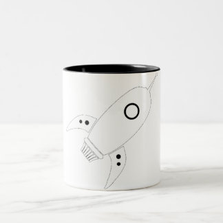 Fat Retro Rocket Ship White Two-Tone Coffee Mug