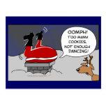 Fat Stuck Santa Funny Christmas Dancing Cartoon Post Cards