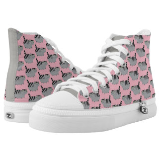 Fat Tabby Cat Hi Top in Pink