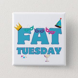 Fat Tuesday Mardi Gras 15 Cm Square Badge