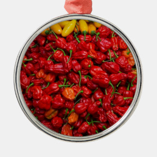 Fatalii's Chile Peppers 2 Silver-Colored Round Decoration