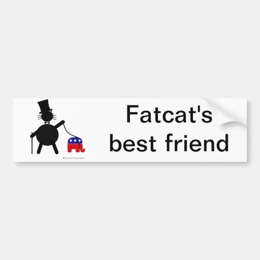 Fatcat and Republican Elephant Bumper Sticker