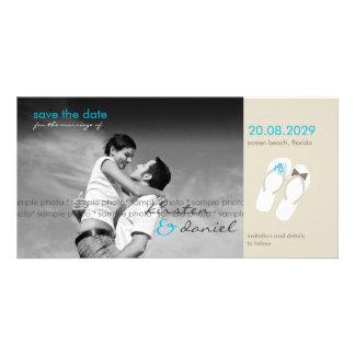 fatfatin Aqua Flip Flops Save Date Announcement Picture Card
