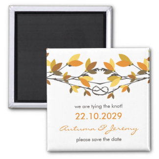 fatfatin Autumn Knotted Love Trees Save The Date Square Magnet