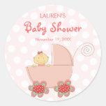 fatfatin Baby Girl & Pram Baby Shower Stickers