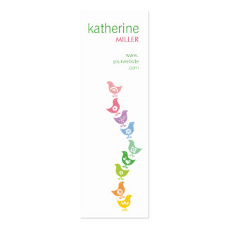 fatfatin Balancing Retro Rainbow Chicks Profile Business Card