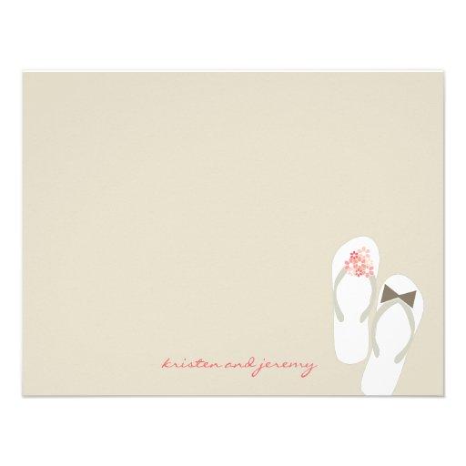 fatfatin Beach Pink Flip Flops Thank You Card Custom Invitation
