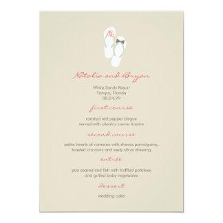 "fatfatin Beach Pink Flip Flops Wedding Menu Card 5"" X 7"" Invitation Card"