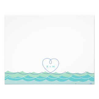 fatfatin Blue Waves Loopy Heart Thank You Card Announcement