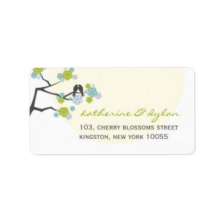 fatfatin Cherry Blossoms Love Birds Address Label