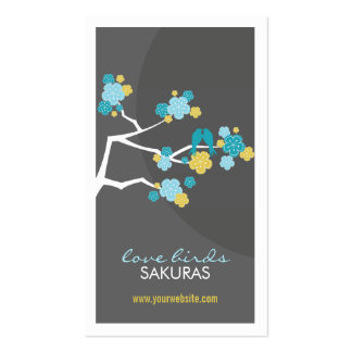 fatfatin Cherry Blossoms Love Birds Profile Card Business Card Templates