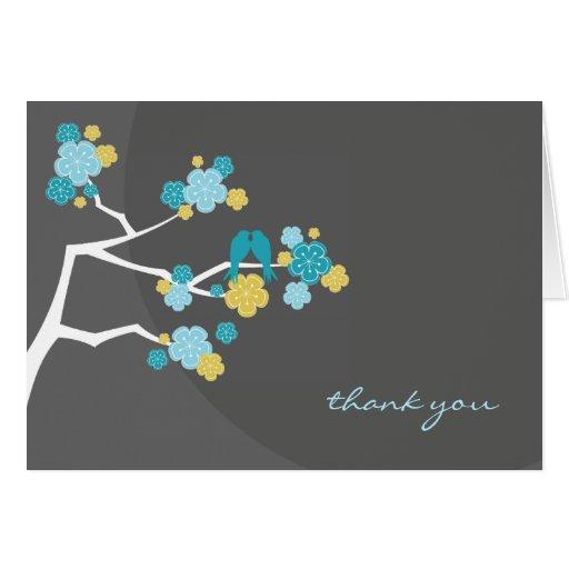fatfatin Cherry Blossoms Love Birds Thank You Card