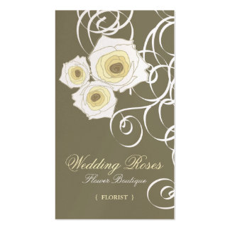 fatfatin Cream Roses & Swirls Profile Card Business Cards