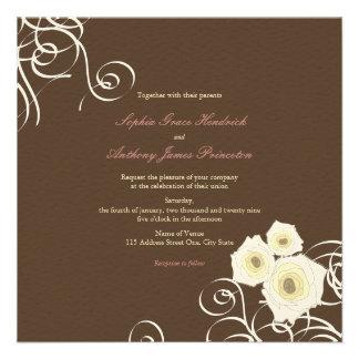 fatfatin Cream Roses & Swirls Wedding Invite