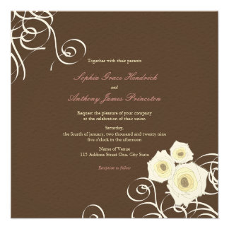 fatfatin Cream Roses & Swirls Wedding Invite Invitations