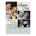fatfatin Damask Lace Blue Photo Save The Date Postcards
