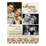 fatfatin Damask Lace Coffee Photo Save The Date Postcards