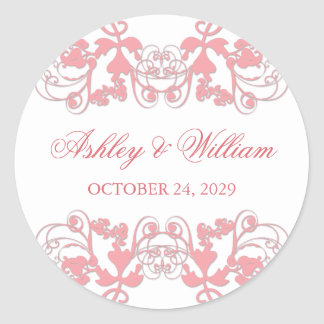 fatfatin Floral Flourish Pink Wedding Sticker