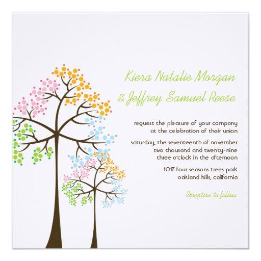 fatfatin Four Seasons Trees Wedding Invitation Custom Invites
