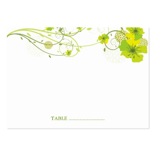 fatfatin Green Hibiscus Swirls Guest Place Card Business Cards