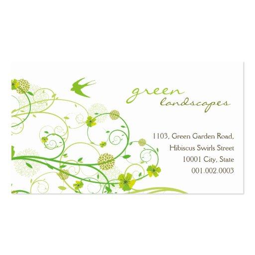 fatfatin Green Hibiscus Swirls & Swallows 2 Business Cards