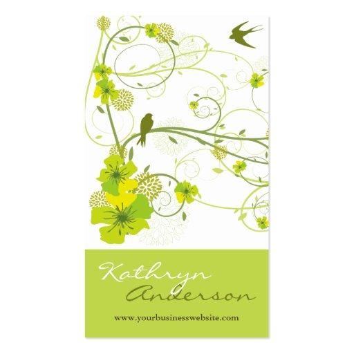 fatfatin Green Hibiscus Swirls & Swallows Profile Business Card Templates