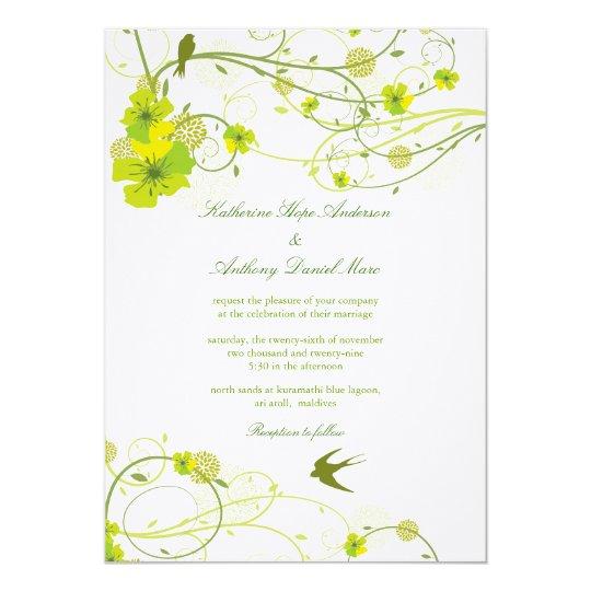 fatfatin Green Hibiscus Swirls & Swallows Wedding 13 Cm X 18 Cm Invitation Card