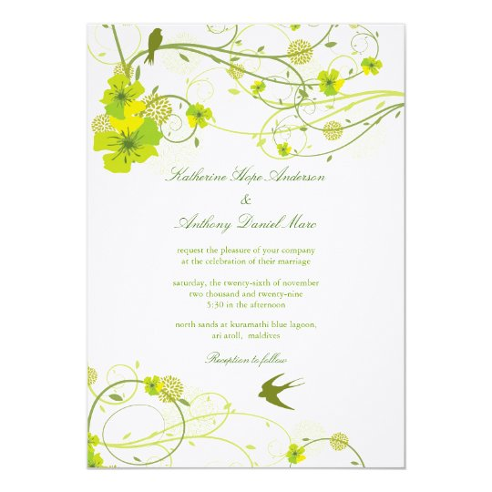 fatfatin Green Hibiscus Swirls & Swallows Wedding Card