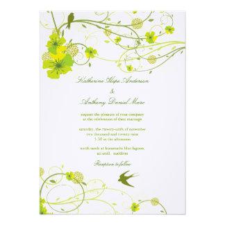 fatfatin Green Hibiscus Swirls Swallows Wedding Personalized Invite