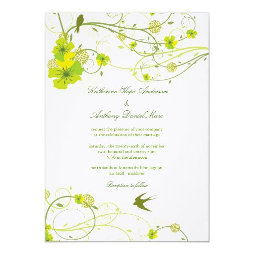 fatfatin Green Hibiscus Swirls & Swallows Wedding Personalized Invitations