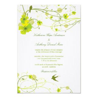 fatfatin Green Hibiscus Swirls & Swallows Wedding 5x7 Paper Invitation Card