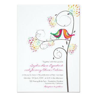"""fatfatin Kissing Summer Birds 2 Wedding Invite 5"""" X 7"""" Invitation Card"""