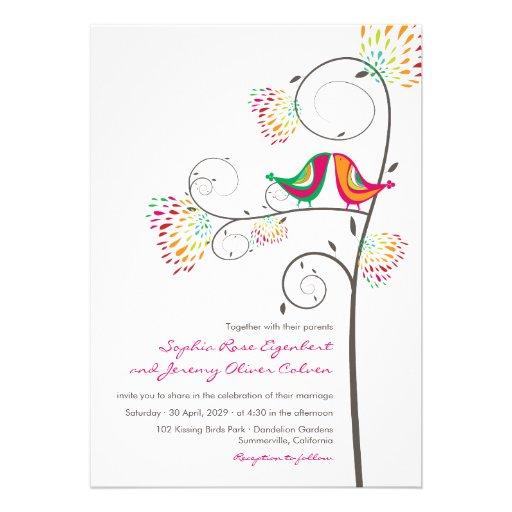 fatfatin Kissing Summer Birds Wedding Invite Announcement