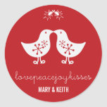 fatfatin Mistletoe Kissing Chicks Holiday Stickers
