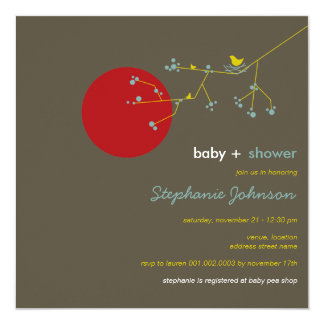 "fatfatin Nesting Bird Family 3 Baby Shower Invite 5.25"" Square Invitation Card"