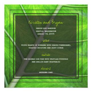 fatfatin Photography Green Leaf Wedding Menu Custom Announcements