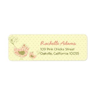 fatfatin Pink Swirly Mum & Baby Bird Labels