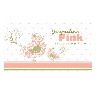 fatfatin Pink Swirly Whimsical Birds Business Card